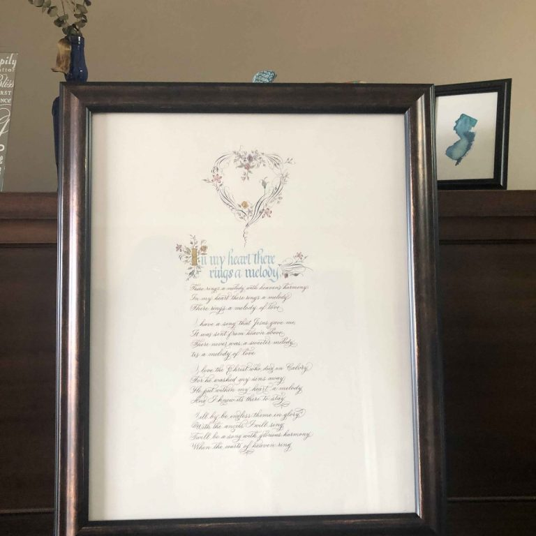 Allocco Design Norfolk, VA Calligraphy | Flourish and Gold Hymn