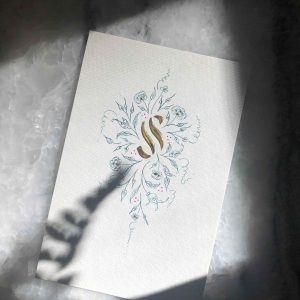 Allocco Design Norfolk, VA Calligraphy | Flourished Gold Calligraphy S